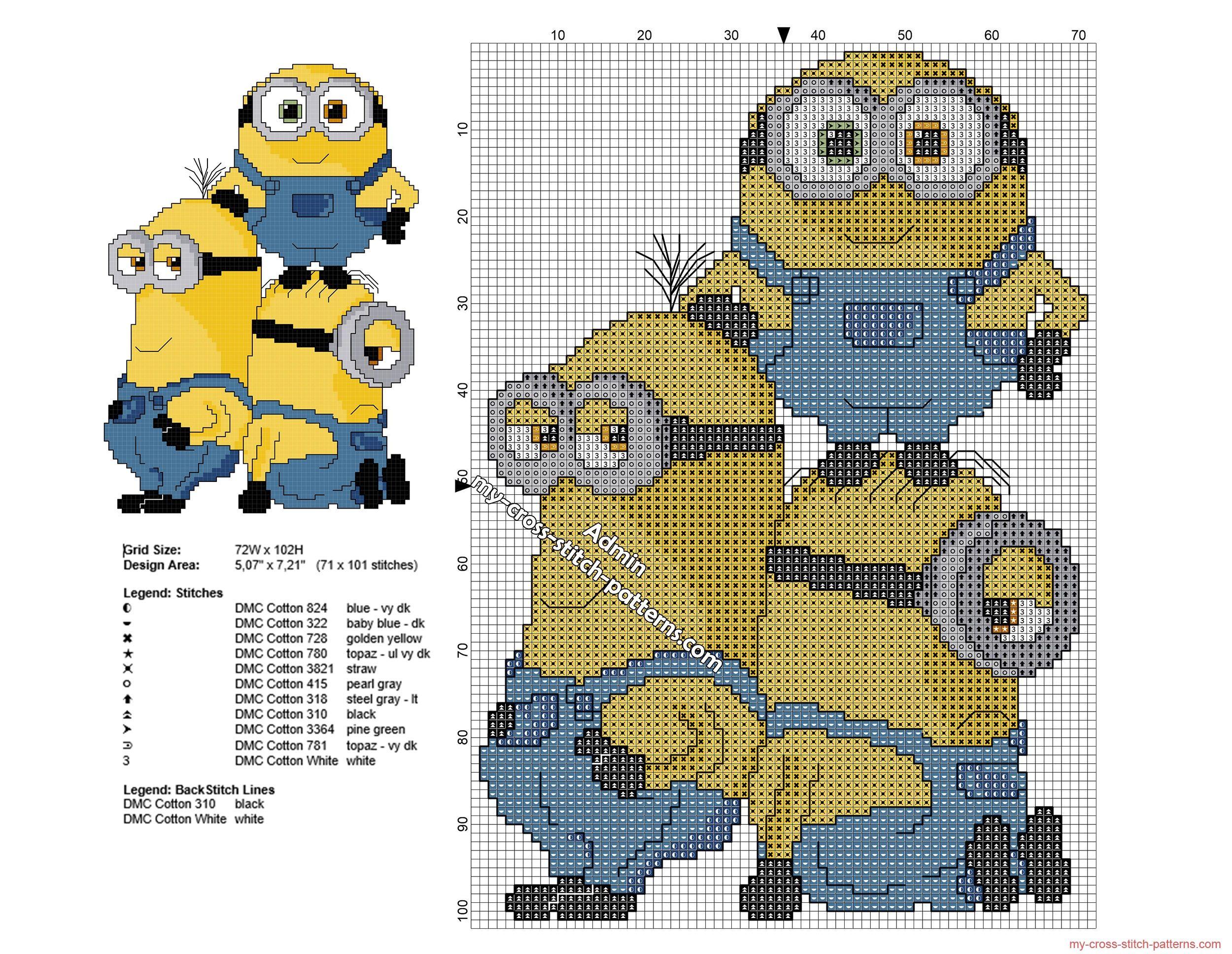 Los Minions juntos patron punto de cruz 71 x 101 puntos 11 colores ...