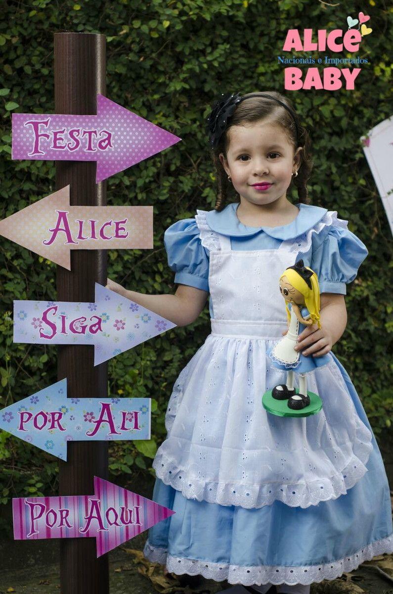 Vestido Alice No Pais Das Maravilhas 1 2 3 4 6 8 10 Anos