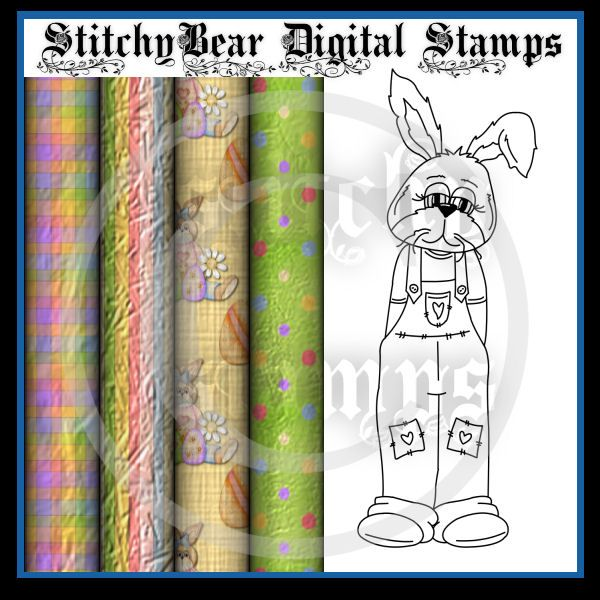 ANIMALS StitchyBear Digital Stamp Outlet One At A Time