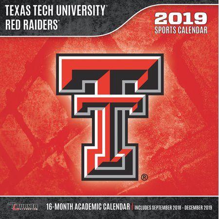 Texas Tech School Calendar 2019 2019 12X12 Team Wall Calendar, Texas Tech Red Raiders in 2019