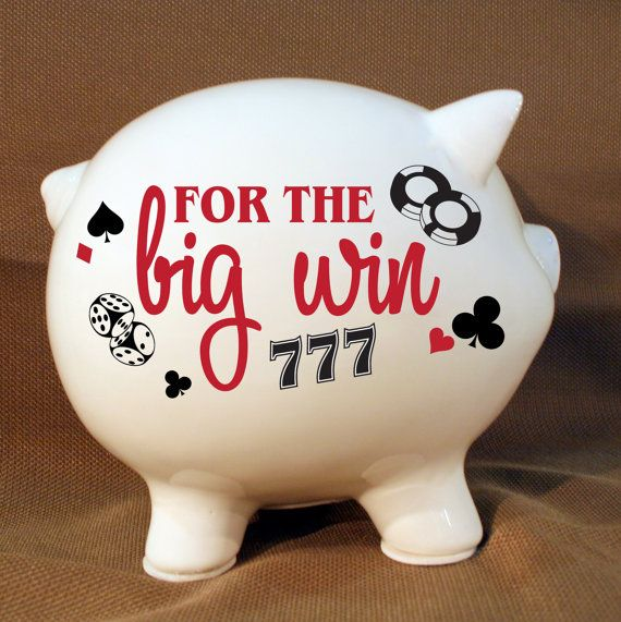 For The Big Win Gambling Fund Piggy Bank With Vinyl Decal 21st