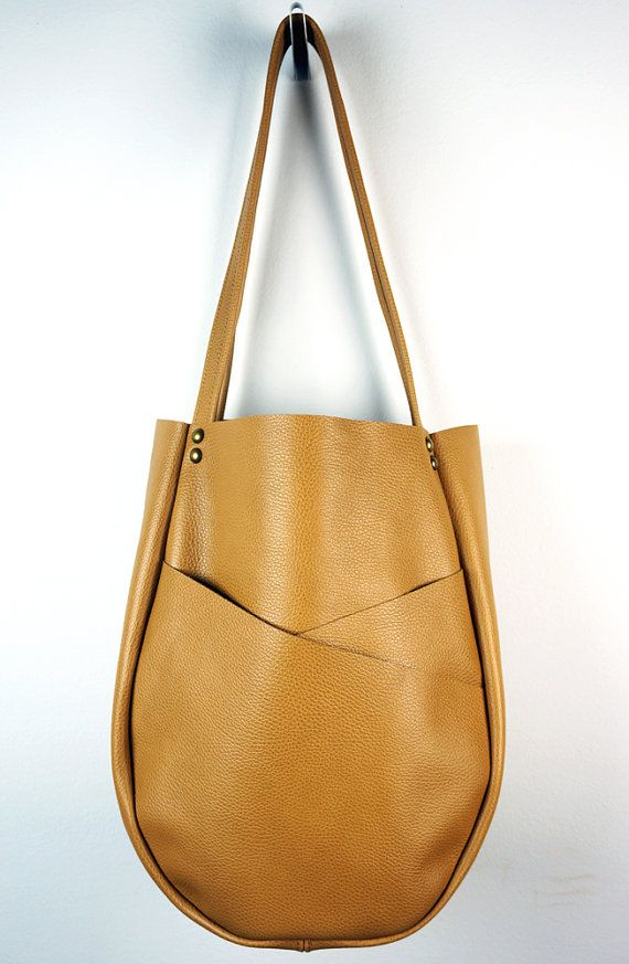 60ddf0a983 Camel Leather Tote Bag with Exterior by NeroliHandbags on Etsy ...