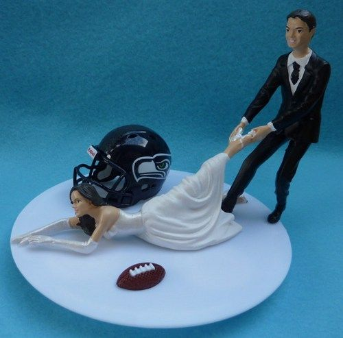 Seattle Seahawks Football Themed Wedding Cake Topper Dont Know That I Would Actually