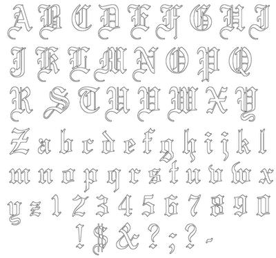 Old Tattoo Font Paperblog Alphabet Tatouage Lettrage Tatouage Tatouages De Nombre