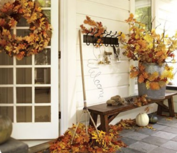 Leaves bring such color to a porch