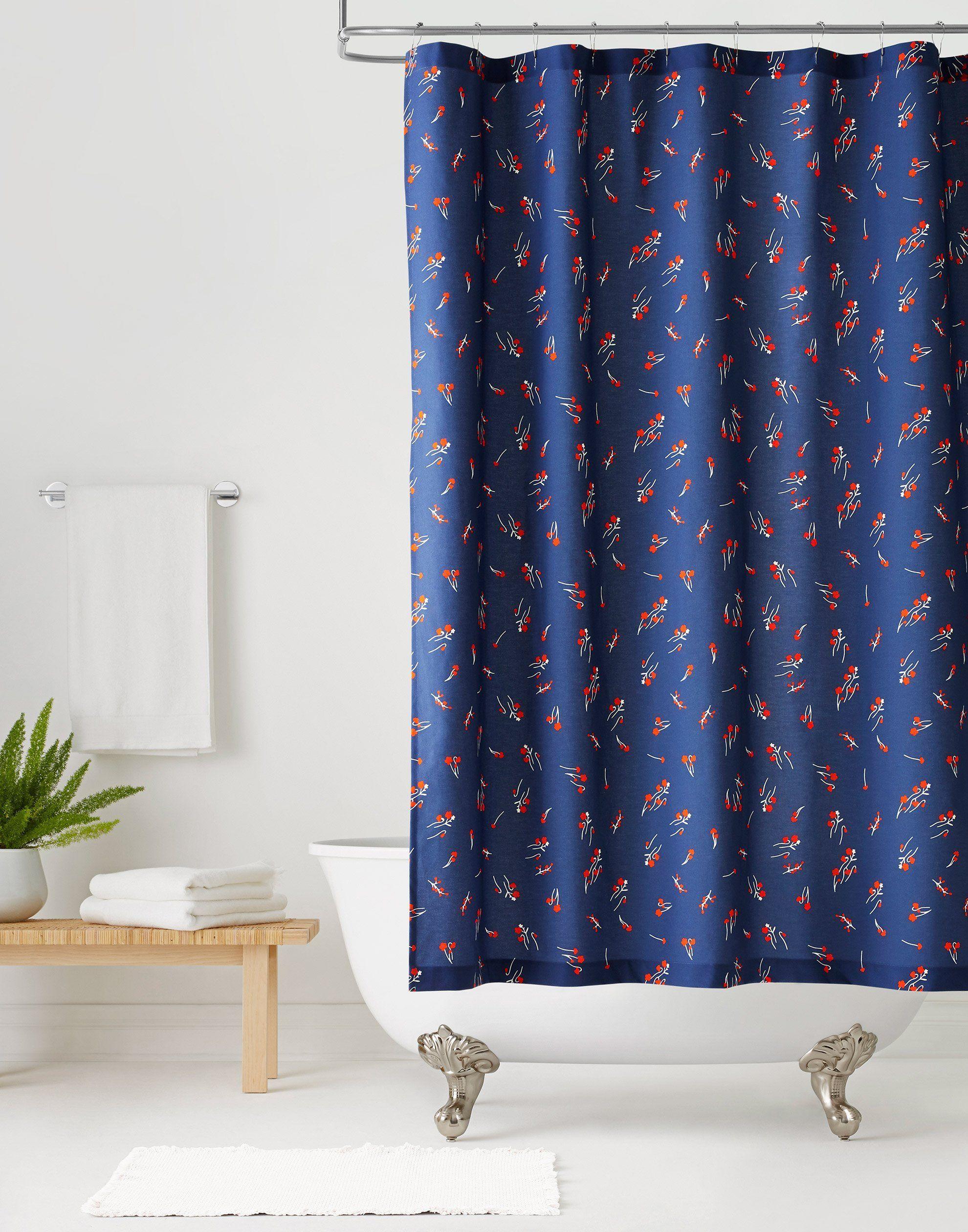 Wildflower Navy Shower Curtain Default Title Curtains Shower