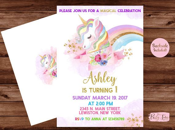 Printable Rainbow Birthday Invitations ~ Unicorn invitation rainbow unicorn invitation unicorn invite