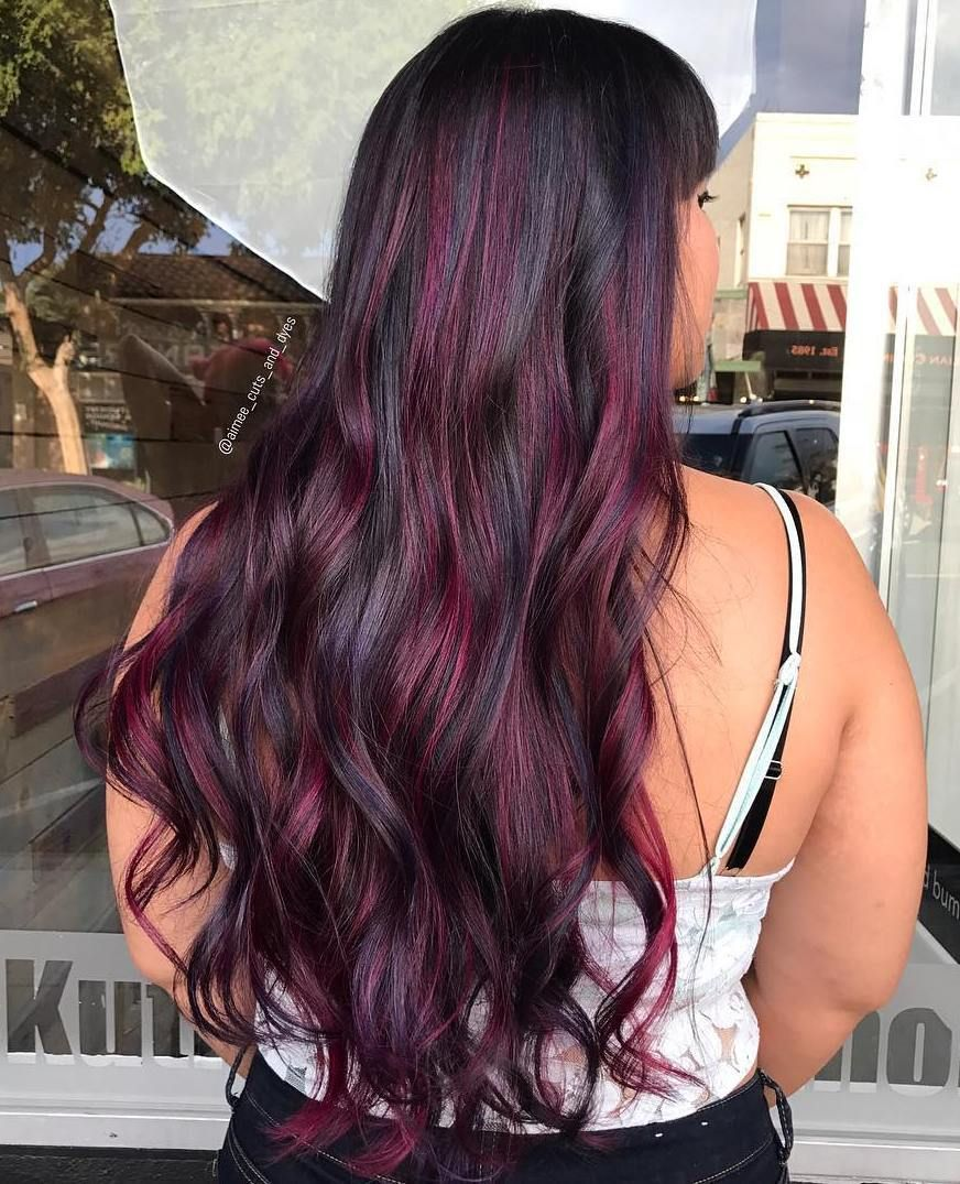 Pin By Candice Nicholson On Nails And Hair Purple Highlights Blonde Hair Copper Blonde Hair