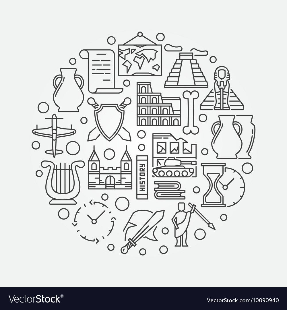 Round history sign Royalty Free Vector Image VectorStock