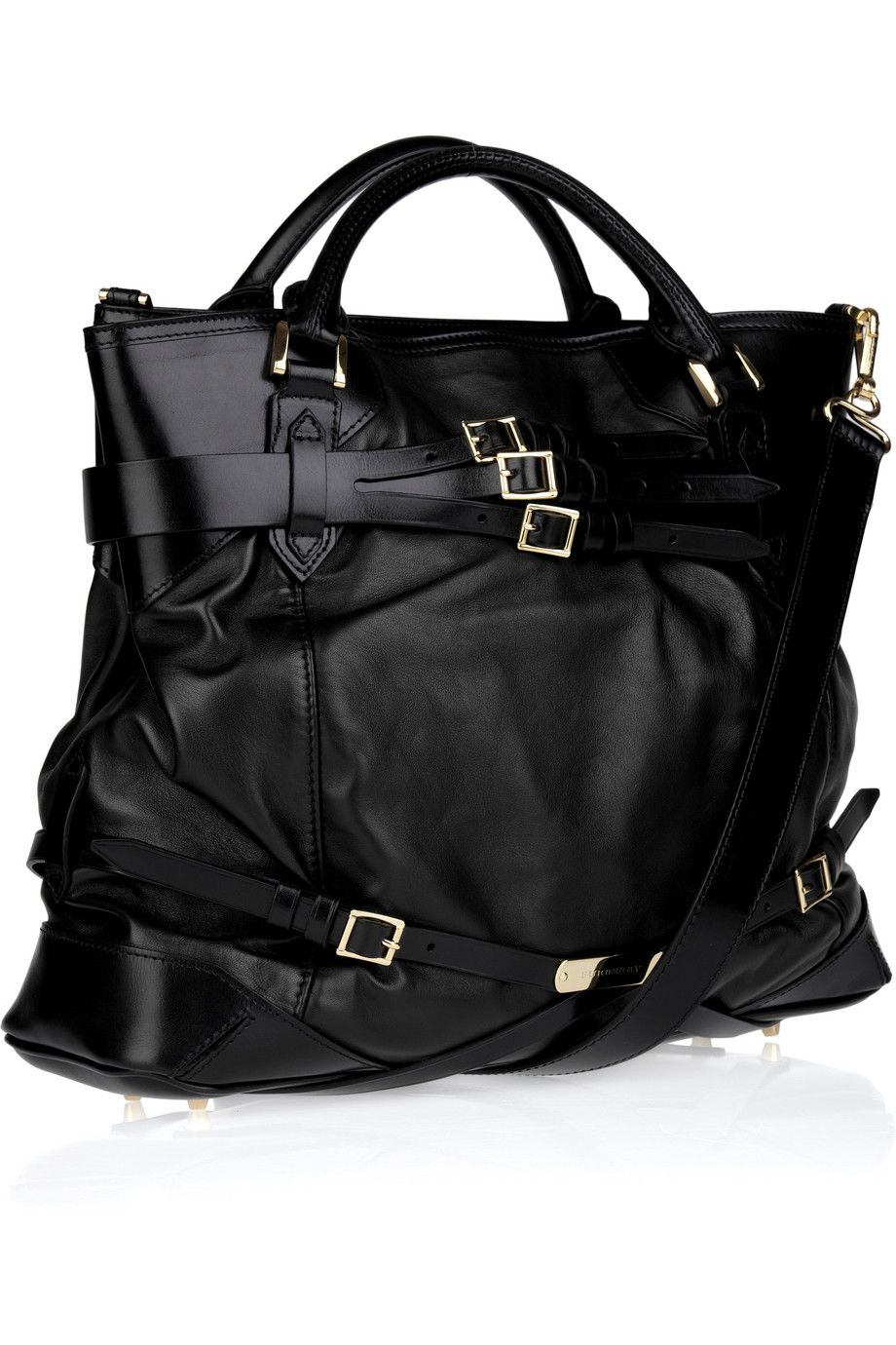 402bed37ff9e Burberry Buckle-detailed Leather Tote in Black