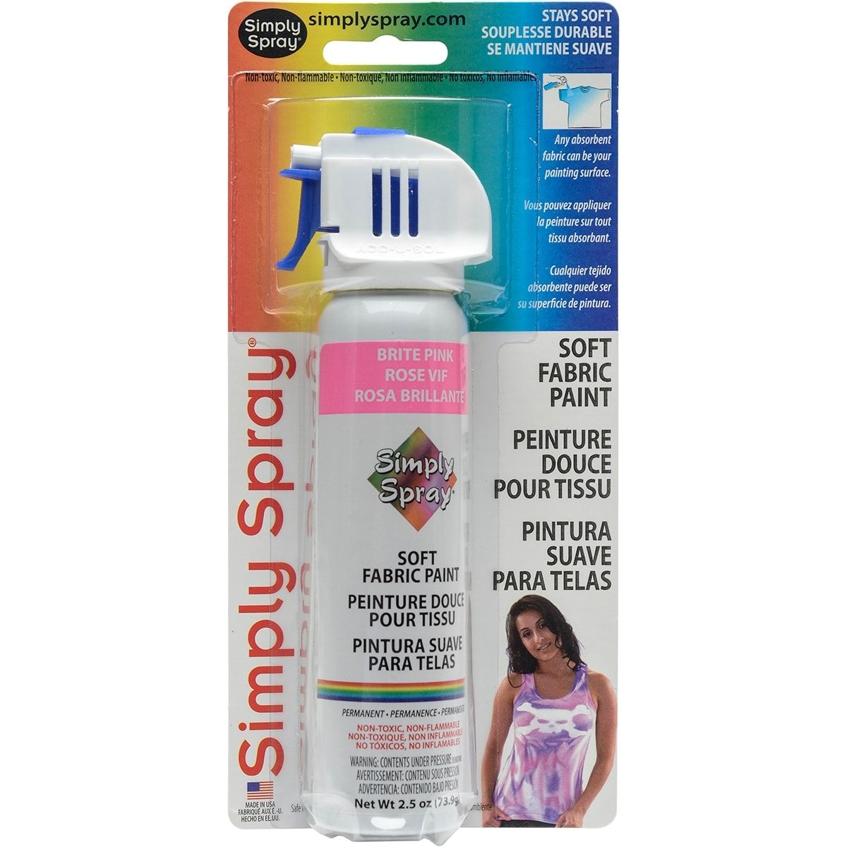 Deval Products Simply Spray Soft Fabric Paint 2 5oz Brite Pink