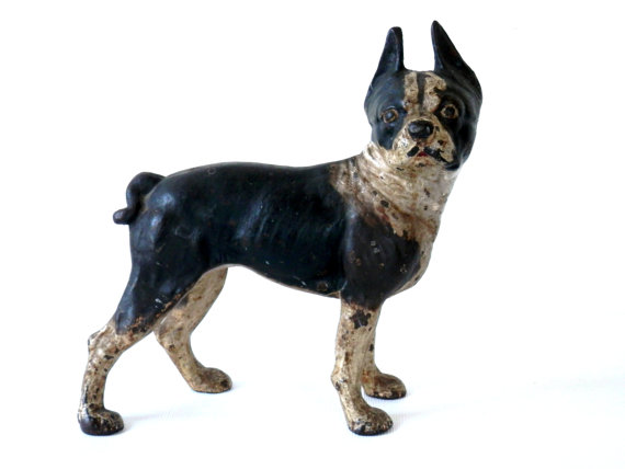 Hubley Boston Cast Iron Terrier Door Stop Antique Dog Figurine In