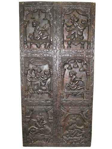 """Different types of men and women, matching what he terms """"equal"""" unions, and gives detailed descriptions of many love-postures hand carved on this wall panels."""