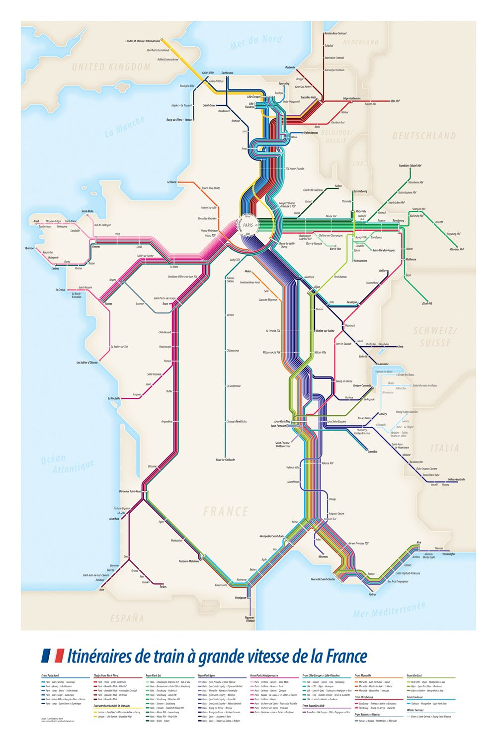 High Speed Train Tgv Routes Of France My Transit Maps