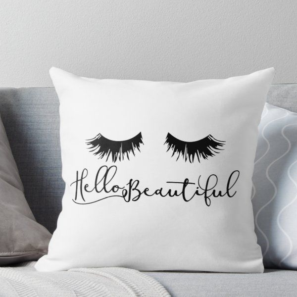 Hello Beautiful Eyelash Print Throw Pillow By Kisart Throw