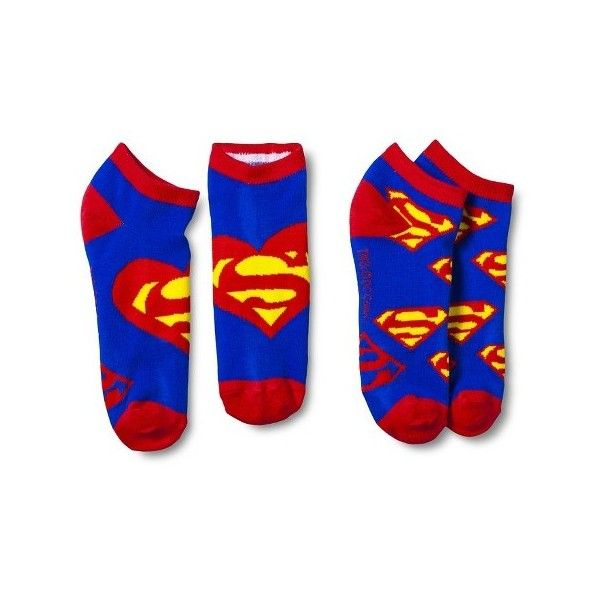 Superman Women's Logo Heart Ankle Socks 2-pack ($5.99) ❤ liked on Polyvore featuring intimates, hosiery, socks, short socks, ankle socks, logo socks, colorful socks and multi color socks