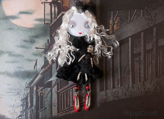 Gothic Romantic Girl Art Doll Brooch mixed media by miopupazzo