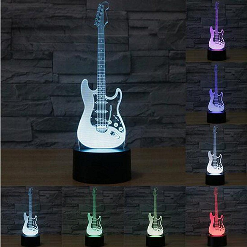 Creative 3d Light Electric Guitar Model Illusion 3d Lamp Led 7 Color Changing Usb Touch Sensor Desk Light Night Light Led Night Lamp Guitar Lamp Desk Light