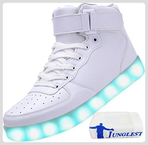 [Present:kleines Handtuch]Rot EU 46, LED-Licht Sneakers Men Couple 7 weise USB Charging Top Sneakers High Sport Flash Shoes JUNGLEST® Women Color