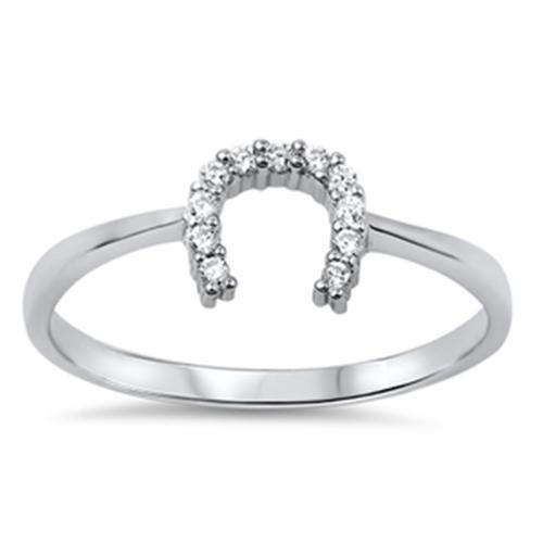 925 Sterling Silver Elegant Horse Shoe for Good Luck D/VVS1 Ring Size 3-11 NEW #Gemdepot #ElegantHorseShoe