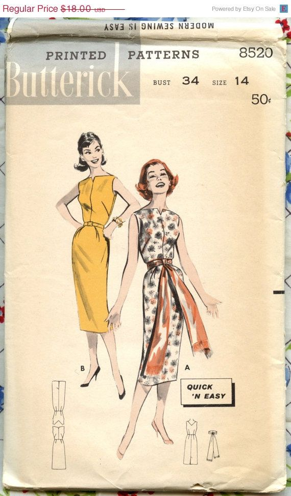 HOLIDAY SALE 1950s Vintage Sewing Pattern Butterick 8520 Misses ...