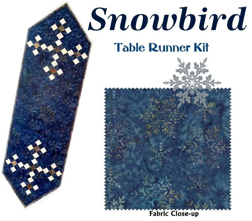 SNOWBIRD TABLE RUNNER QUILT KIT - Moda Snowflake Fabric by Laundry ... : quilted table runner kits - Adamdwight.com