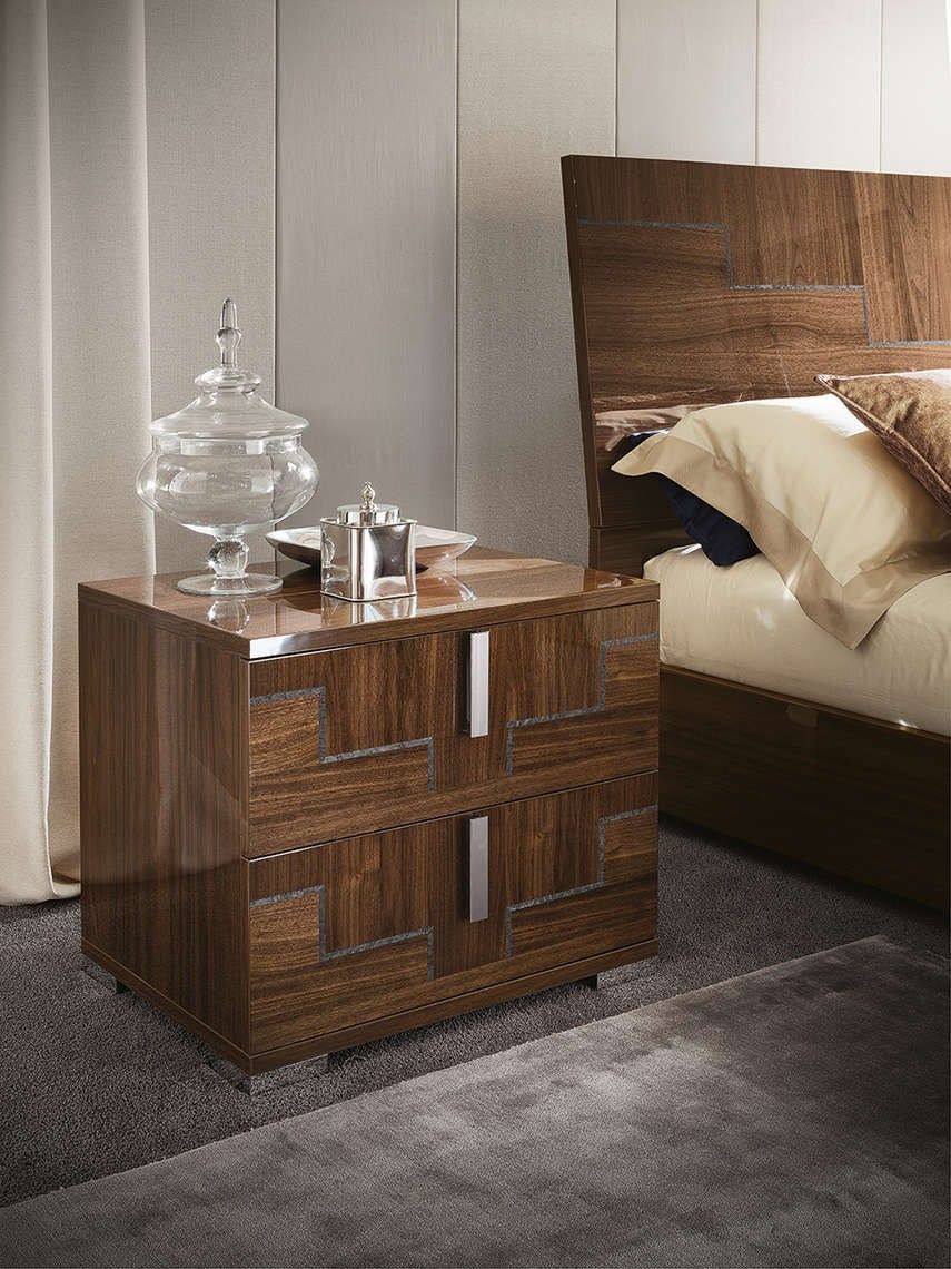Memphis Nighstand In Walnut Canaletto High Gloss By Alf Da Fre Furniture Bedroom Furniture Contemporary Furniture