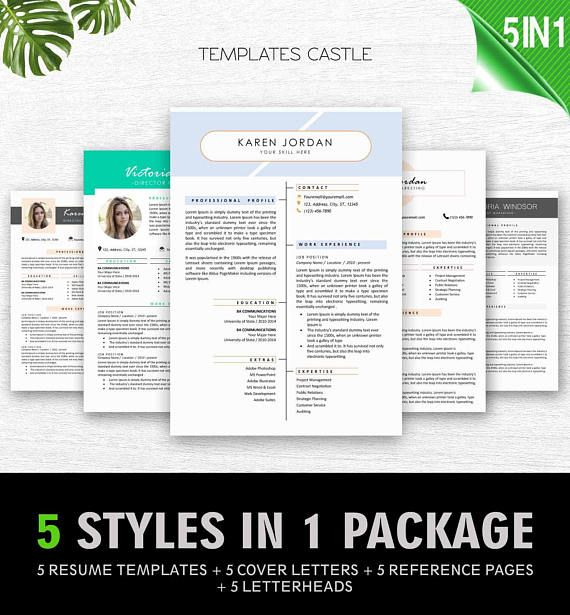 Resume Template Bundle Professional Resume Template Word  Resume