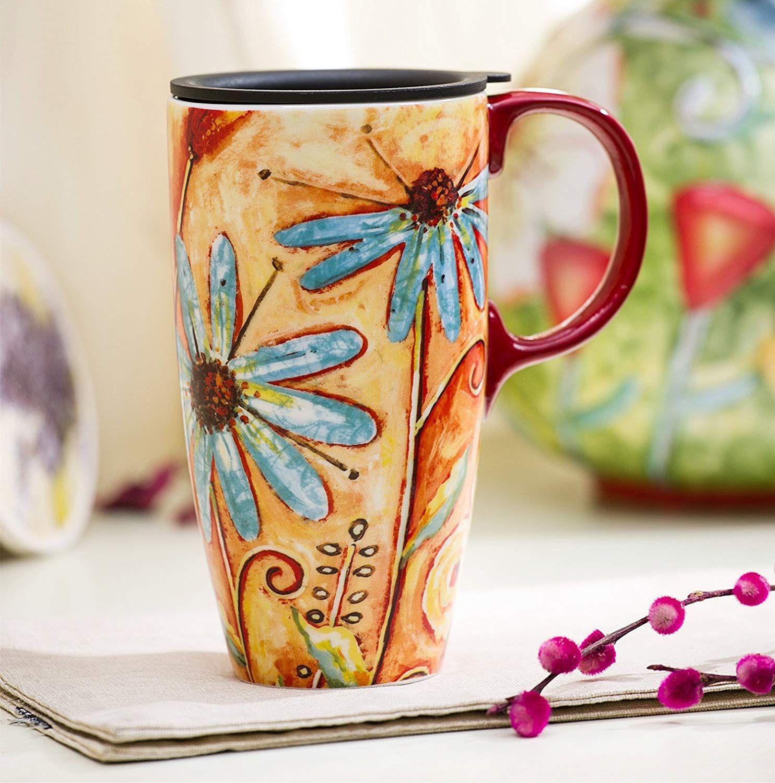 Travel Coffee CeramicMug Porcelain Latte Tea Cup With Lid