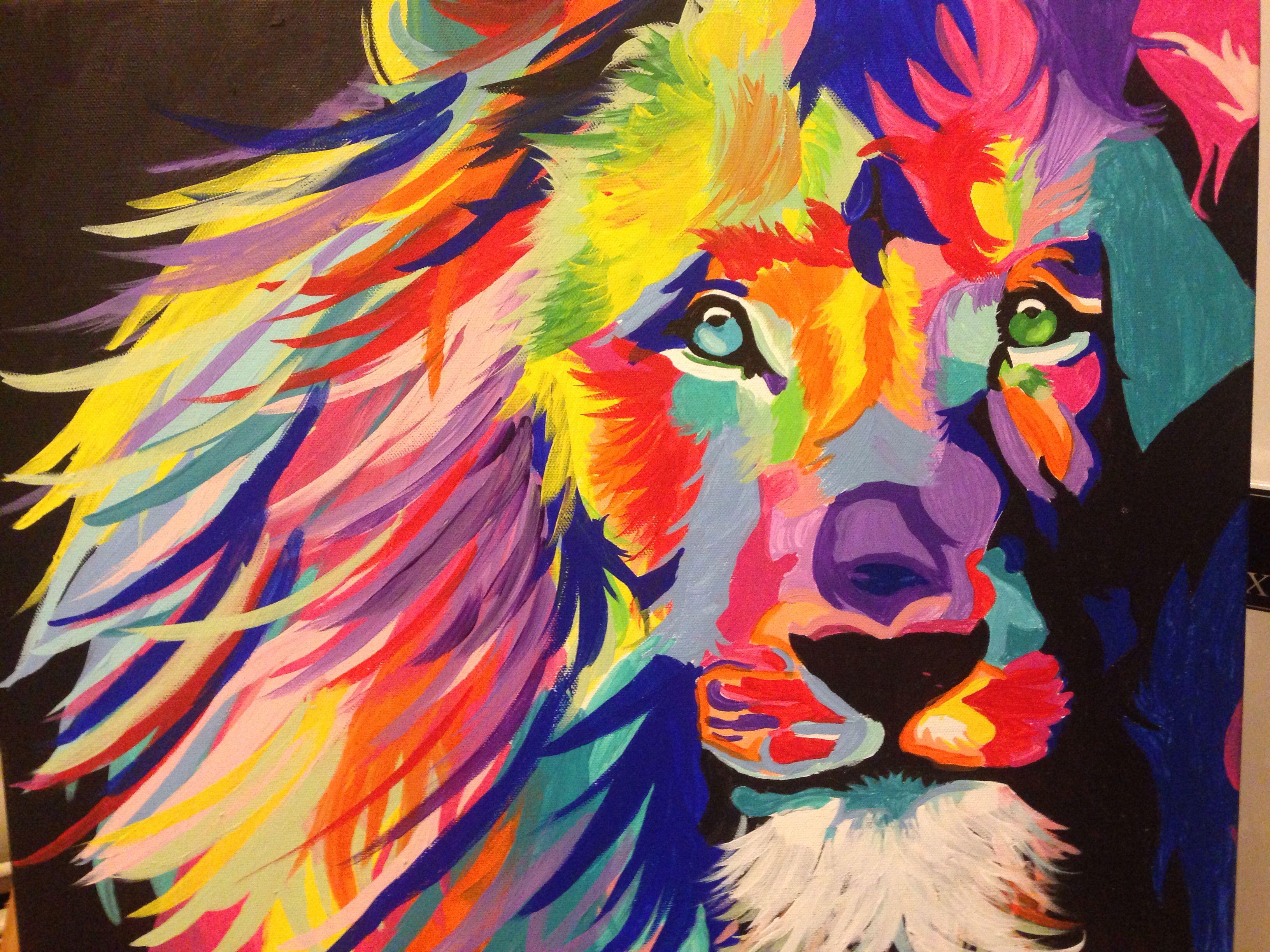 Colorful lion | Art, Painting, Color