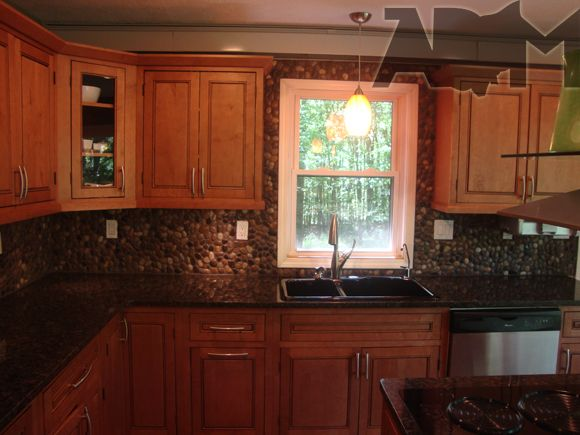 Our Diy Backsplash Using River Stone By Stratastones Net Http Www