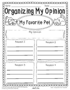 Opinion Writing And Graphic Organizer My Favorite Pet Sample Opinion Writing First Grade Writing Persuasive Writing