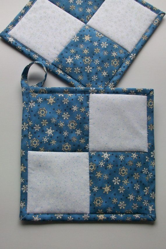 Snowflake Quilted Pot Holders Winter Snow By Watsonhousehandmades