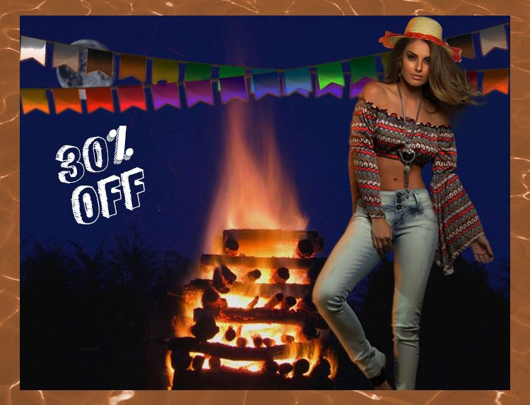 Arraial da Moda! 30% de DESCONTO Sô! 🎈🎈🎈 Corre e compra sem sair de casa: http://goo.gl/J1sLe0 #Saojoao #Desconto #AlvodaModa #Arraial