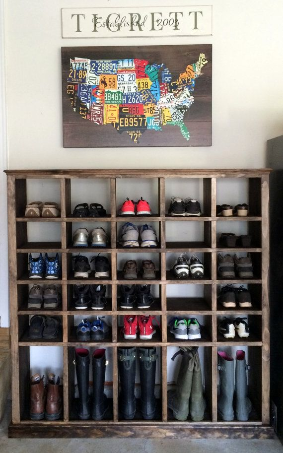 Shoe cubby by msquaredwooddecor on etsy pinteres for Diy wall shoe rack