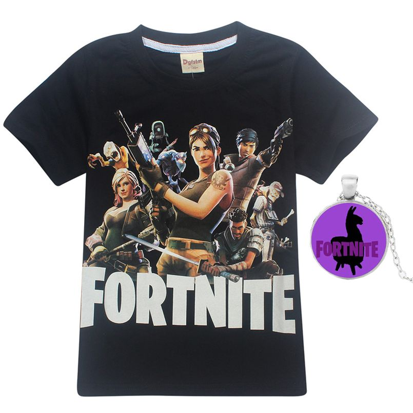 af63a84a Fortnite Boys T shirt Baby Summer Clothes Kids Short Sleeve T-shirt for Boys  Clothing Children Tops Boys Top tee with necklace