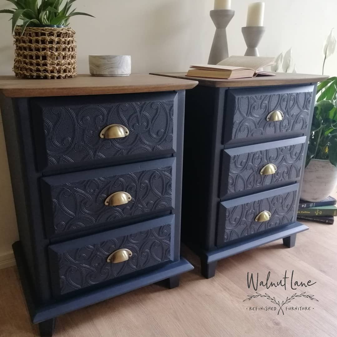 Best Bedside Tables Painted In Midnight Blue Top Stained With 400 x 300