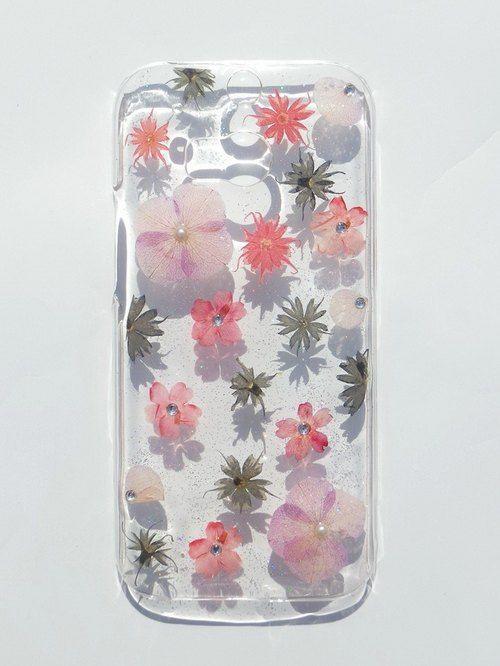 Annys workshop手作押花手機保護殼,適用於HTC ONE M8, 浪漫粉紅,  PRESSED FLOWER PHONE CASE