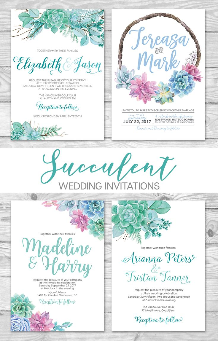 Printable Succulent Wedding Invitation ideas Custom Designed wedding ...