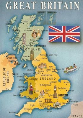 Postcard A La Carte 2 United Kingdom Map Postcards