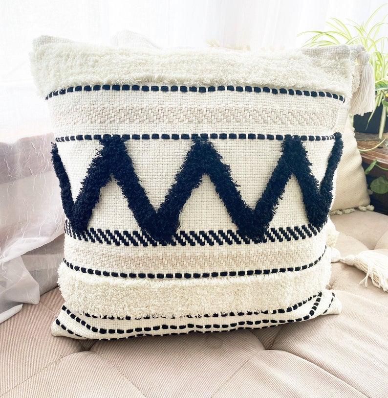Texture, trim design cotton Pillow Cover, Boho pillow, white natural cotton and black, Pillow Cover, Pillow Case, 18x18