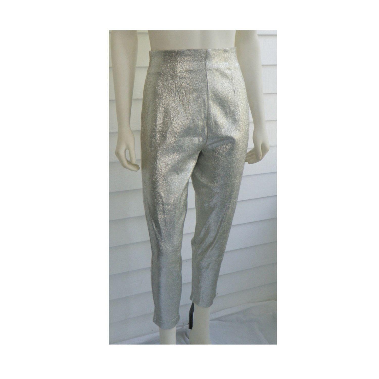 Vintage Silver Metallic Stretch Pants High Waist Capris Lurex Lame