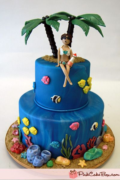 21st Birthday Tropical Themed Cake 187 Birthday Cakes Fish Cake Birthday Beach Themed Cakes