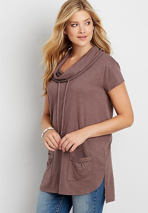 eec6ced0a61 pullover cowl neck tunic