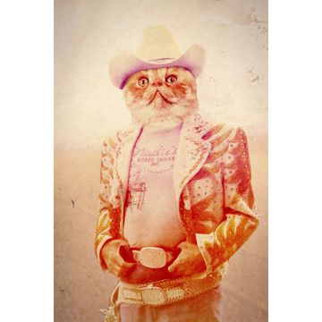 Cowboy Cat 12x18, $19, now featured on Fab.