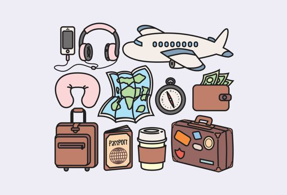 bfaf1d799779 Watercolor Illustration · High quality vector clipart. Cute travel vector  clip art. Kawaii backpacking clipart set.