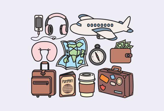 bfaf1d799779 Watercolor Illustration · High quality vector clipart. Cute travel vector  clip art. Kawaii backpacking clipart set.