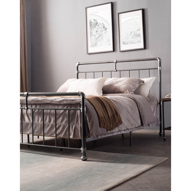 Carbon Loft Meitner Vintage Charcoal Metal Bed (With