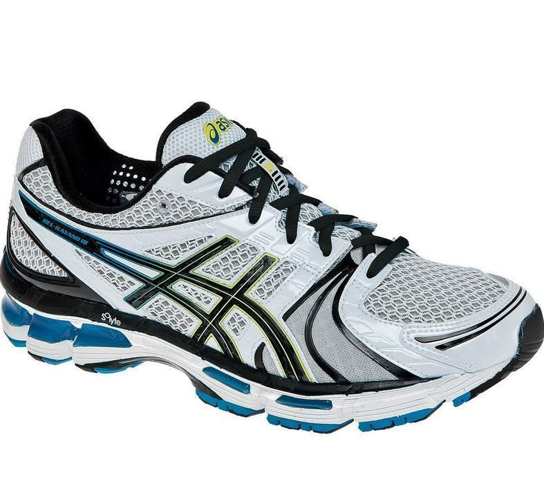 ASICS Men's Gel Kayano 18 Shoes White Black Hot Blue Sizes 10.5 ...