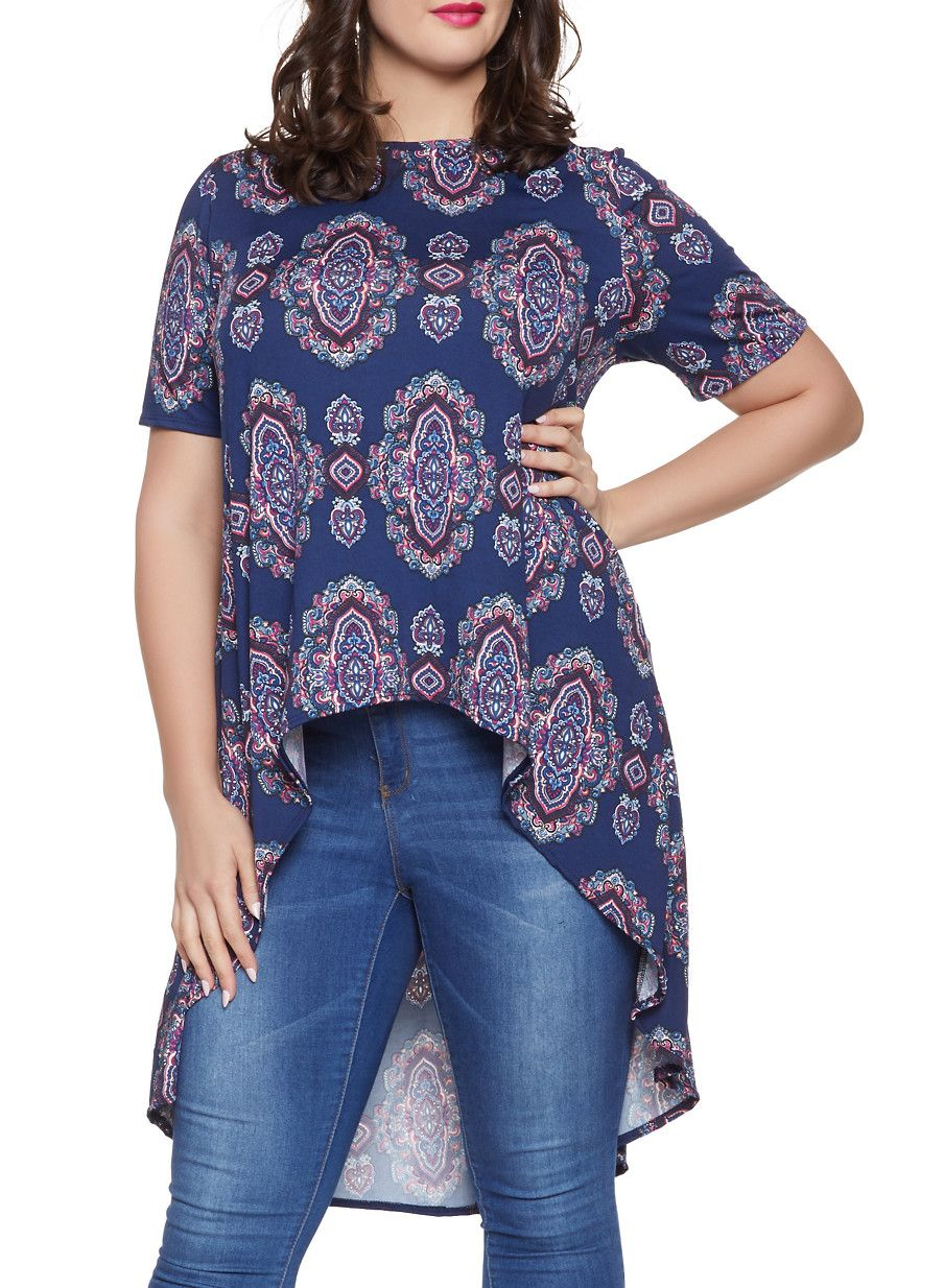95fc655a1b Plus Size Paisley High Low Top - NAVY - Size 3X High Low Top